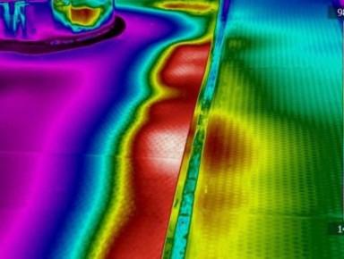 Figura 3 Problemi di coibentazione in prossimità di un giunto – è visibile il sensibile gradiente termico legato al deterioramento del refrattario